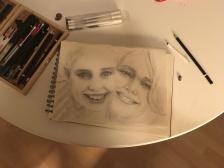 Schets portret moeder / dochter